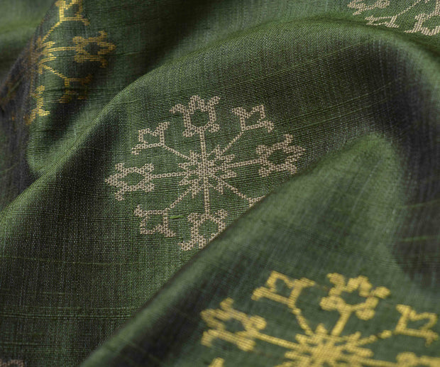 Greenish Gold Tussar Fabric With Jacquard And Zari Butta Highlights