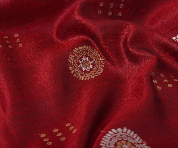 Maroon Tussar Fabric with Chakra Motif