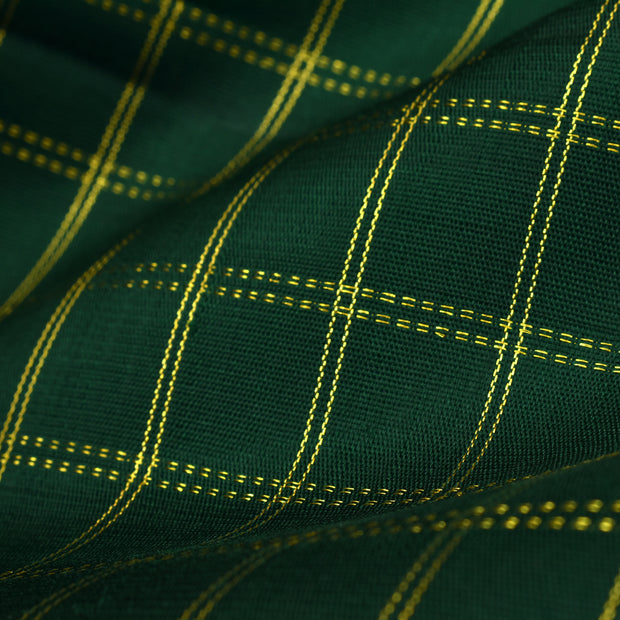 Bottle Green Checked Kanchi Silk Fabric