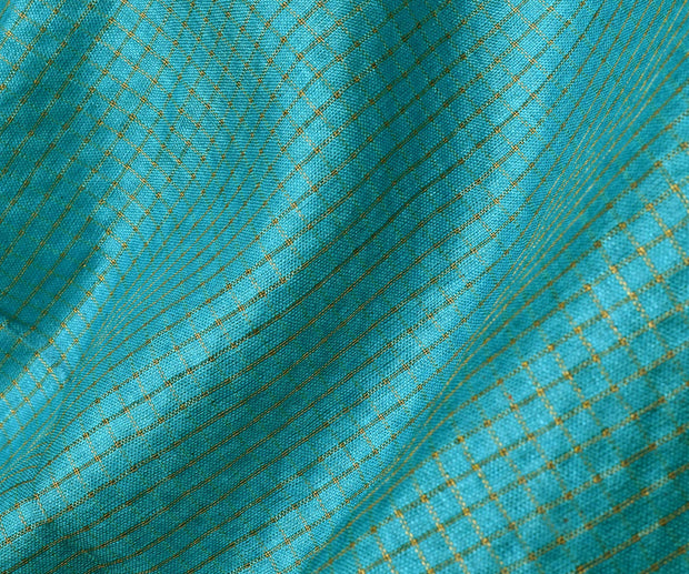 Blue Tussar Fabric With Gold Checks