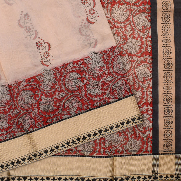 Half White  Floral Printed Kota Cotton Saree With Half White Blouse And Black Thread Zari Border