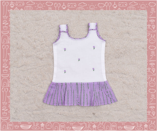 Narmada - Hand embroidered Lavender dots and stripes printed frock (3-6months)