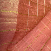 Dual Tone Onion Pink And Orange Zari Kattam Tussar Fabric