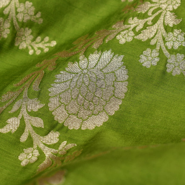 Apple Green Banarasi Silk Fabric