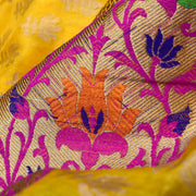 Mustard Floral Zari Banarasi Silk Fabric With Thread Flroal And Antique Zari Grand Border
