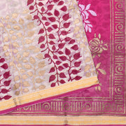 Half White Rose And Gold  Floral Printed Bengal Cotton Saree With Rose Blouse