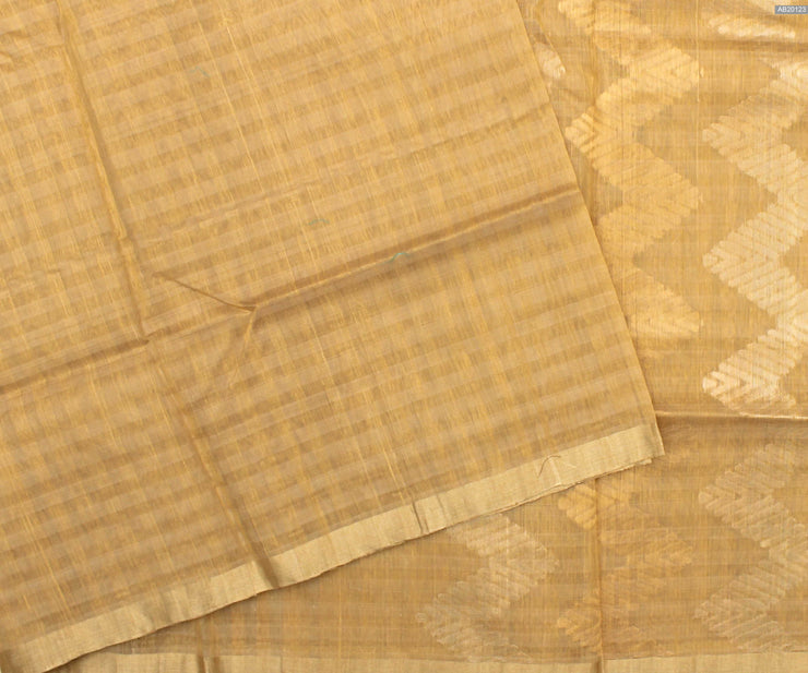 Sandal Linen Tussar  Saree With Gold Zigzag  Zari Pallu and Floarl  Zari Butta Blouse