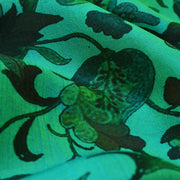 Turquoise Blue Printed Kanchi Silk Fabric