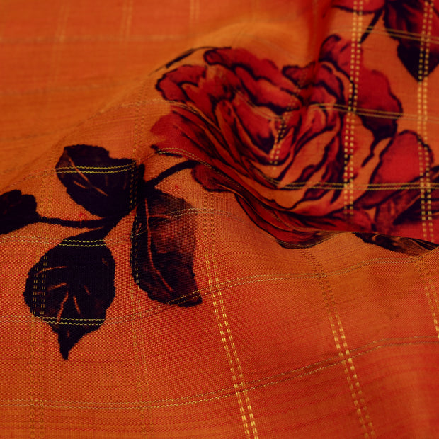 Floral Printed Orange Checked Kanchi Silk Fabric