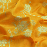 Yellow Orange Silver Zari Floral Banarasi Silk Fabric