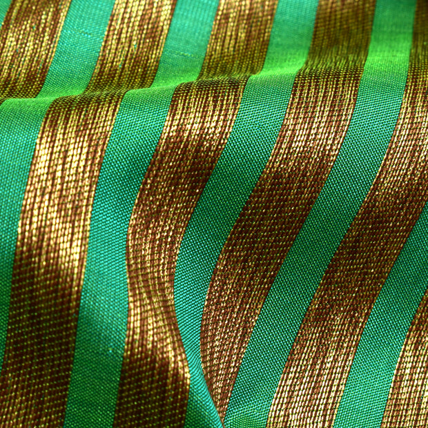 Dual Tone Green And Blue Banarasi Silk Fabric With Antique Striped Zari Design