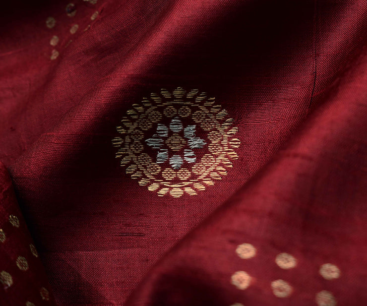 Maroon Tussar Fabric With Gold And Silver Zari Butta Highlights