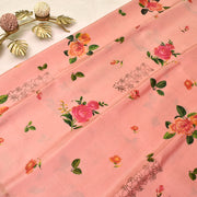 Baby Pink Printed Kanchi Silk Saree With Blouse