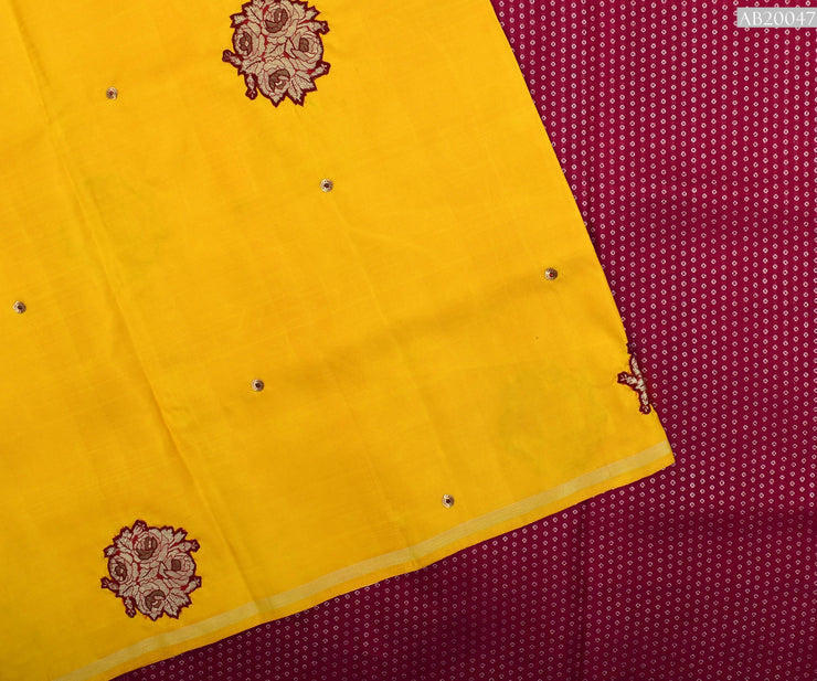Musturd Kanchi Silk Saree With Red Silver Zari Pallu Crafted With Banarasi Applique - With Blouse