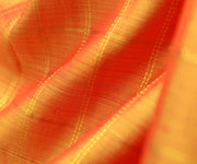 Orange Double Shaded Kanchi Silk Fabric With Zari Kattam Design