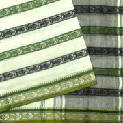 Half White Black And Green Striped Thread Butta Cotton Saree
