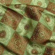 Apple Green Kattam Antique And Thread Zari Butta Design Banarasi Silk Fabric