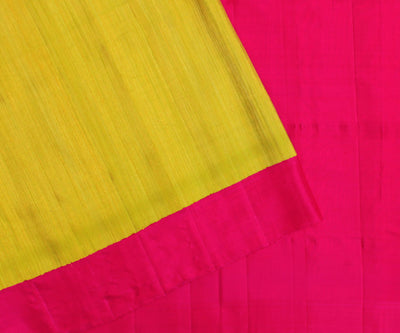 Lemon Yellow Jute Silk Saree With Rose Border