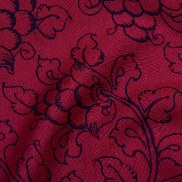 Red Creeper Kanchi Pen Kalamkari Fabric