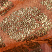 Orange Antique  Banarasi Silk Fabric