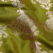 Avacado Green Banarasi Silk Fabric With Paisley Zari Design