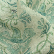 White Linen Fabric With Rexona Blue Floral Printed Design And Silver Zari Border