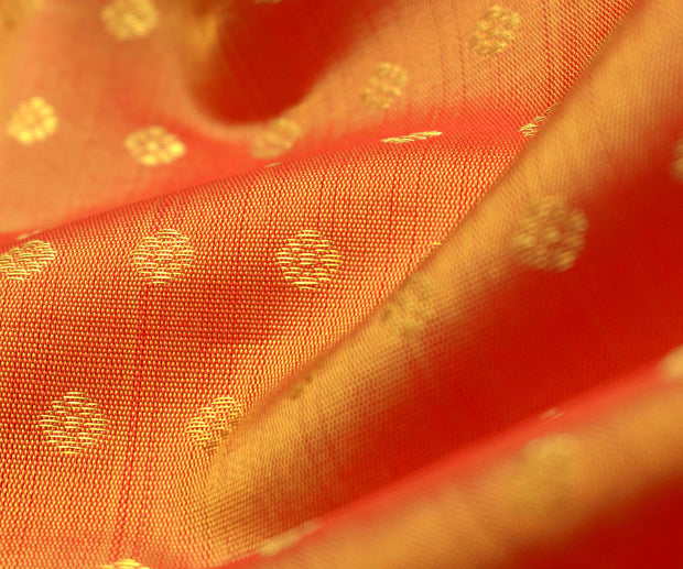 Orange Double Shaded Kanchi Silk Fabric With Kamalam Button Design Highlights