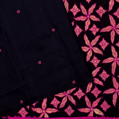 Black Kanchi Silk French Knot Embroidery And Cut Work Pallu And Rose Embroidered Blouse