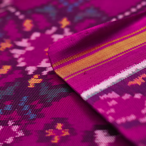 Hot Pink Patan Patola Silk Fabric With Border