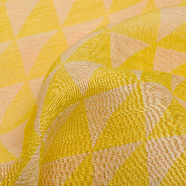Yellow Printed Linen Fabric