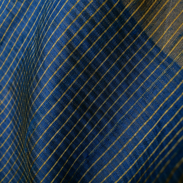 Blue Checked Ikkat Silk Fabric