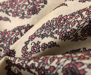 Half White Tussar Fabric With Red Paisley Floral Printed Designs