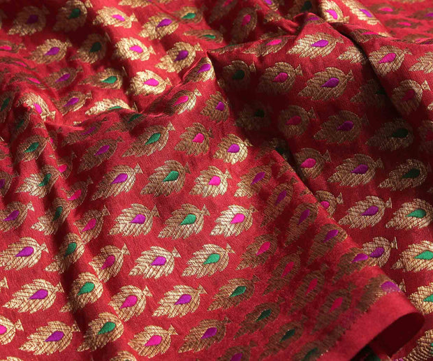 Ruby Red Banarasi Silk Fabric With Multicolor Zari Buttas