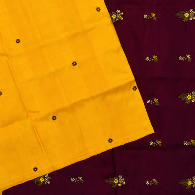 Mustard Frenknot Embroidery Kanchi Silk Saree With Dark Maroon Thread, Sequin And Zardosi Embroidery Design With Blouse