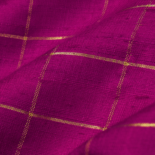 Pink Checked Tussar Silk Fabric