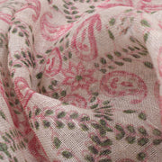Half White Linen Fabric With Rose Mango Printed Design And Silver Zari Border