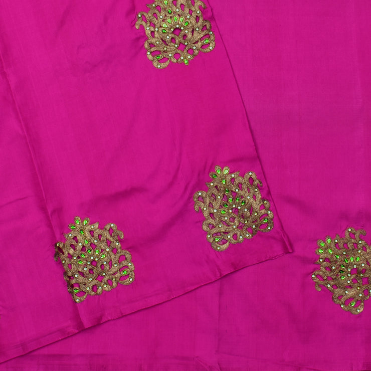 Rose Kanchi Silk Saree With Antique Thread Load Embroidery Design With Blouse