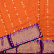 Orange Gold And Silver Zari Butta  Tussar Saree With Purple Grand Border And Blouse