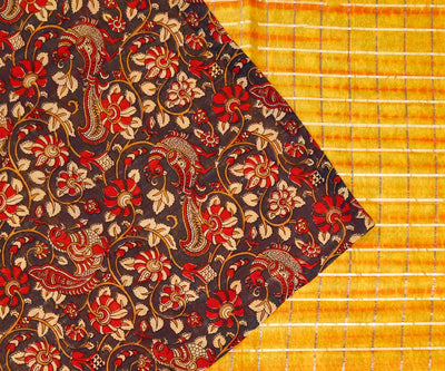 Orange Shaded Silk with Dupion Kalamkari Half and Half Saree