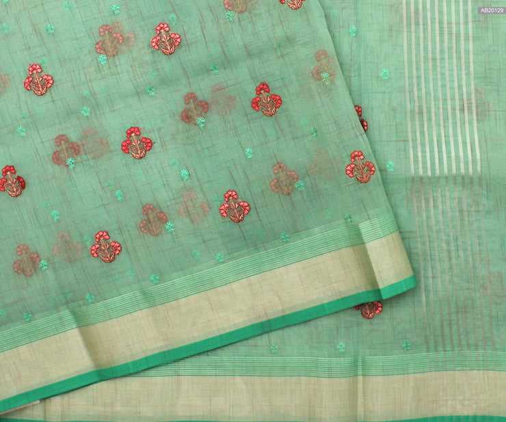 Pastel Seagreen Embroidered Organza Saree and Silver Striped Pallu and Border  With Blue Blouse