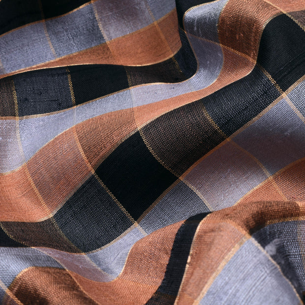 Grey And Brown Zari Kattam Tussar Fabric