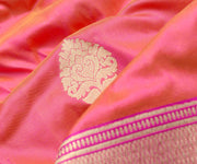 Peach Double Shaded Banarasi Silk Fabric With Antique Gold Floral Zari And Gold Zari Border