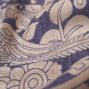 Blue Floral Printed Tussar Fabric