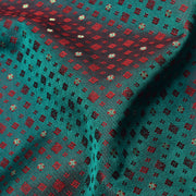 Dual Tone Peacock Green And Red Banarasi Silk Fabric