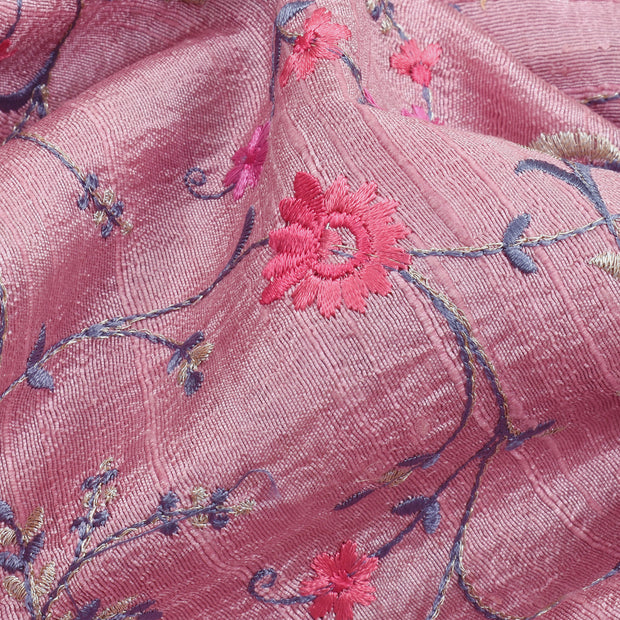 Onion Multi Thread Floral Embroidery Tussar Fabric