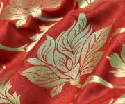 Red Floarl Banarasi Silk Fabric