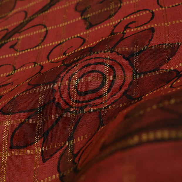 Burnt Orange Checked Pen Kalamkari Fabric