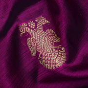 Magenta Peacock Butta Kanchi Silk Fabric