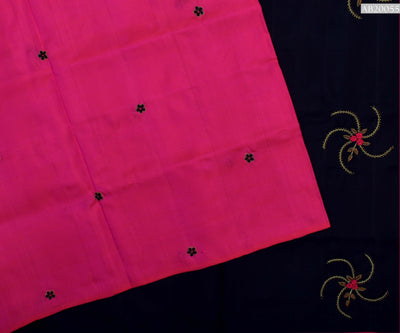 Hot Pink Kanchi Silk Saree With Black Pallu Crafted With Bullion Knots , Zardosi And Beads - With Blouse