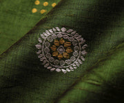 Fern Green Tussar Fabric With Silver And Gold Zari Butta Highlights